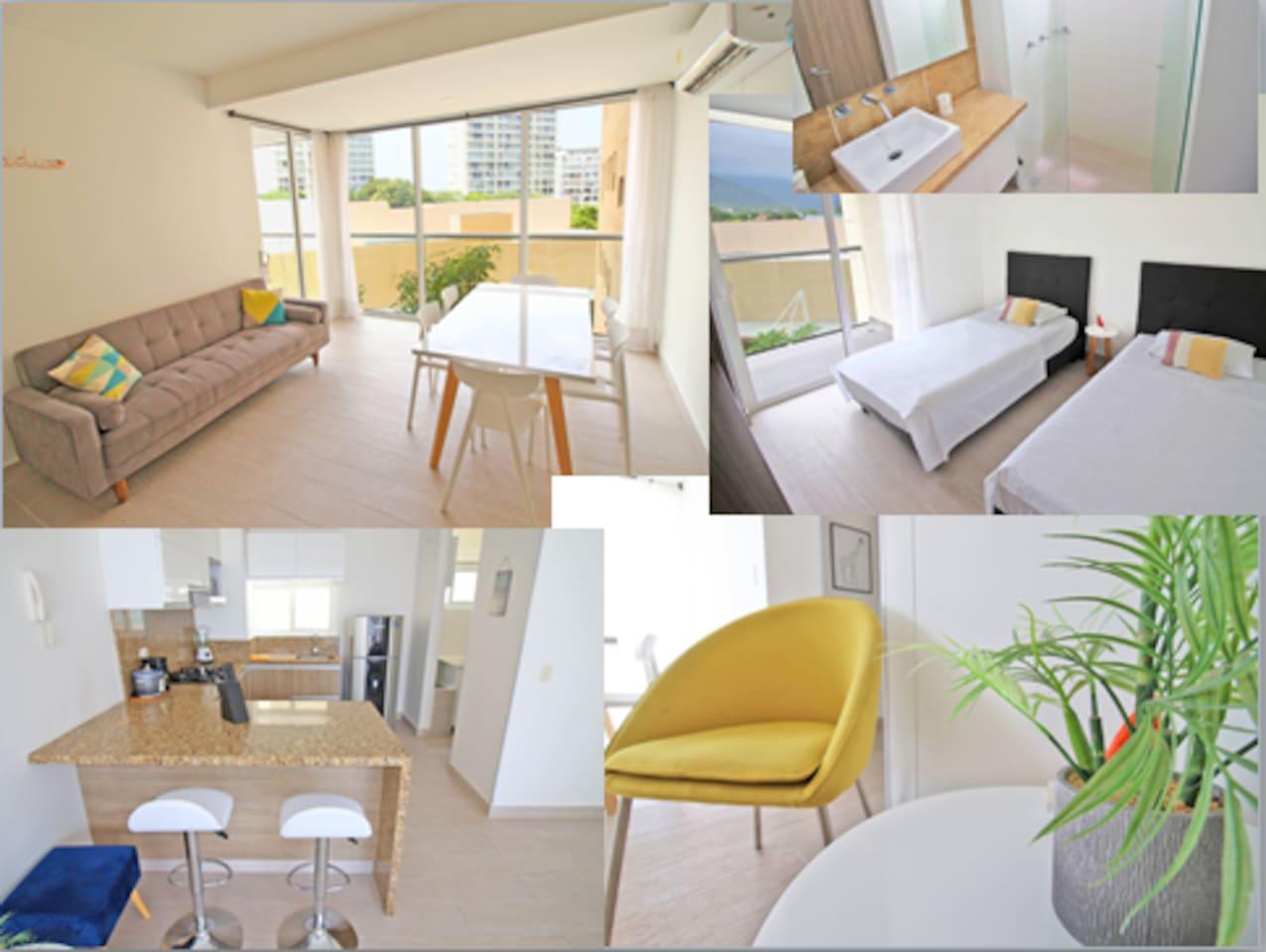Apartamento completamente dotado para 7 personas