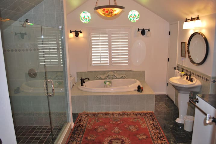 Bathroom with huge double shower and built in tub.