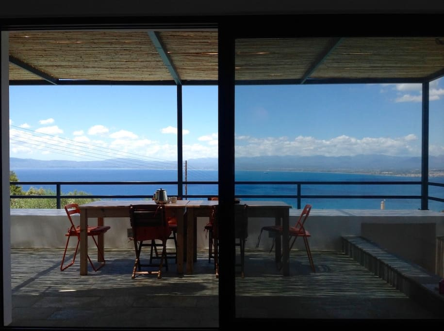 View from dining room Ground Floor towards Bay of Messinia and Kalamata