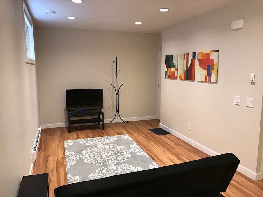 Living room with Chromecast and internet connected LED TV.