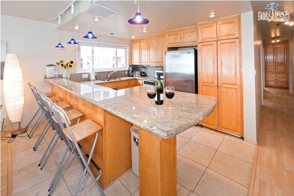 Breakfast bar with seating. San Diego Beach House Rental