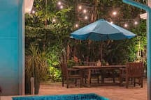 Patio dining area at night