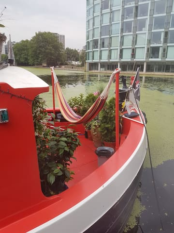 Hammock on canal boat at Little Venice