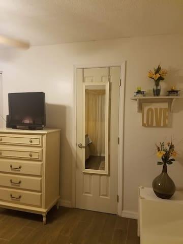 Bedroom 2, door to private bath