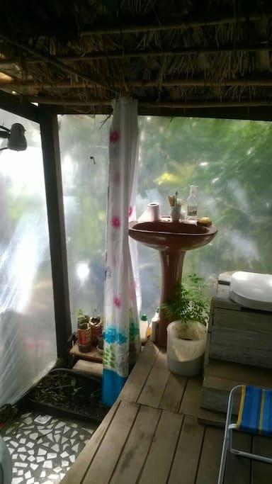 """Banheiro seco, ó que maravilha &: ) Relaxa que essa """"parede"""" transparente dá prum lugar que ninguém transita -- nem animais."""
