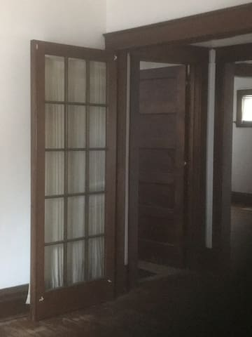 French doors to bedroom