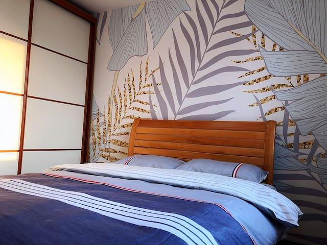 六道口阳光充沛单间双人床东南亚风格尽享轻松感受
