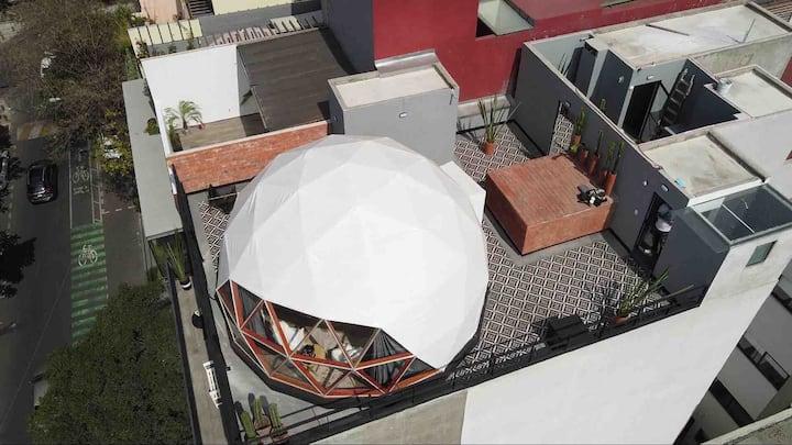 IMPERDIBLE roof top en medio de la CONDESA. WiFi