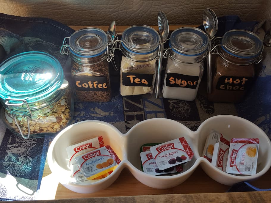 Good quality muesli, coffee, tea, hot chocolate and condiments for your toast.