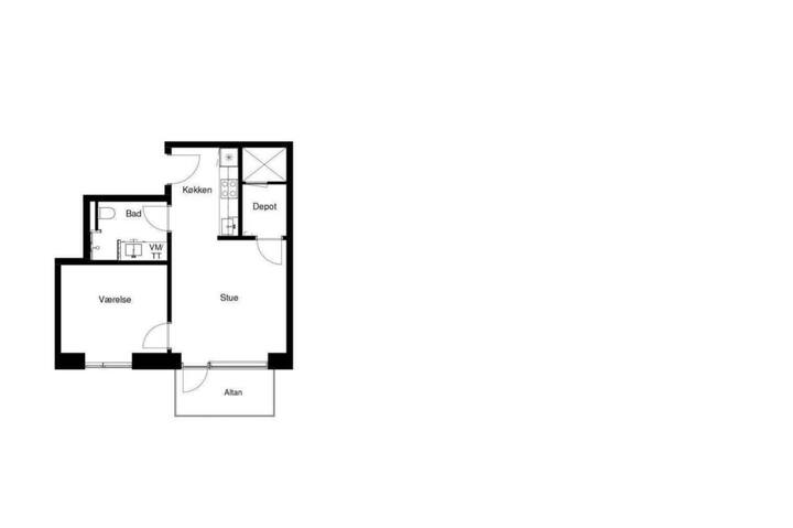 Furnished Two room apartment near beach and city