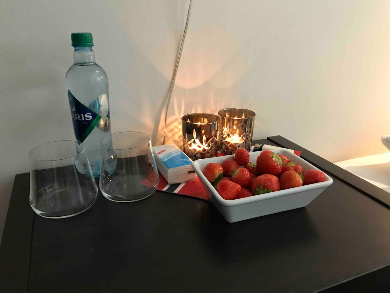 Mineral water and some fresh fruit will always welcome you into your home away from home...