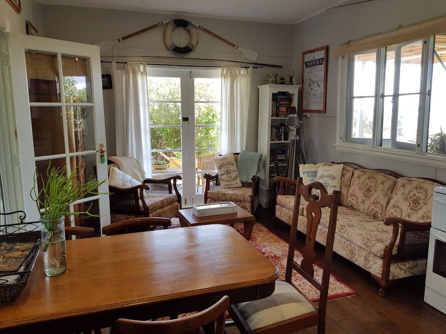 Open the french doors and enjoy the ocean breezes. The cottage is cool and airy in the warm weather, cosy in the cooler months