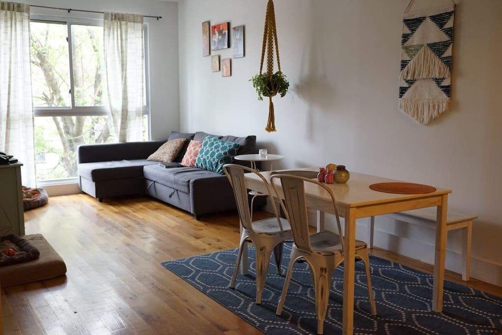 Living area, including apple tv