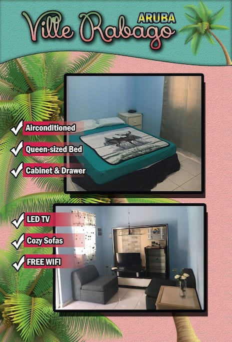 Apartment 2 with 1 bedroom  Bedroom & Livingroom with 2 single sofa bed