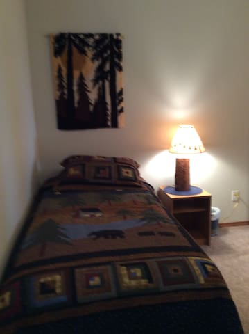 Bear  room with twin beds fun rustic decorations