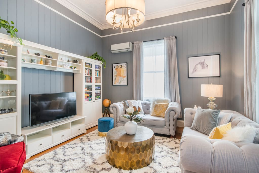 Chic and cosy lounge area with tv , games and even a record player !