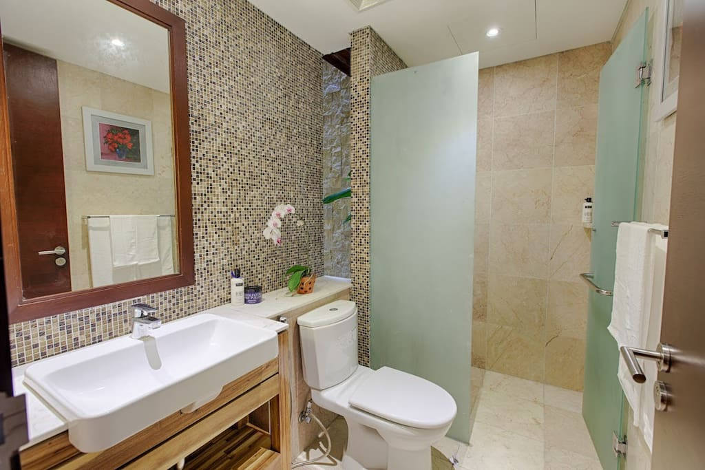 Private bathroom with a glassed-in rainshower, a large sink with full-sized mirror, and lots of towel bars.