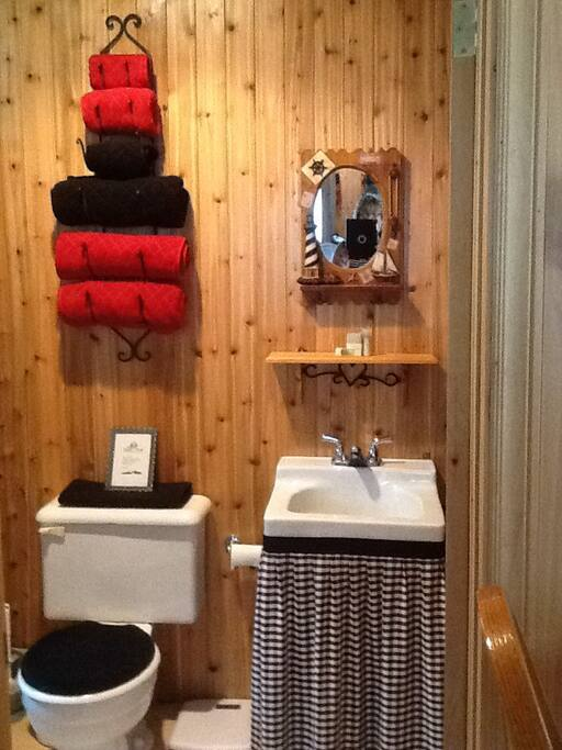 Country bath with toilet, sink, towels, toilet paper, Kleenex, and shampoo.