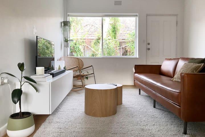 Queen Bedroom in Designer's Balaclava Apartment