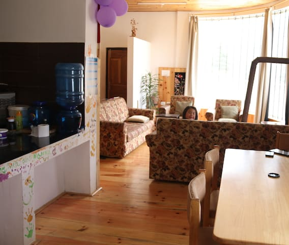 Living room, dining and kitchen