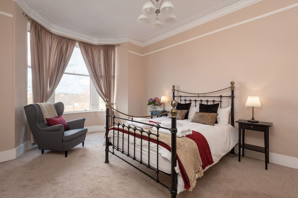 Spacious second double bedroom with great views