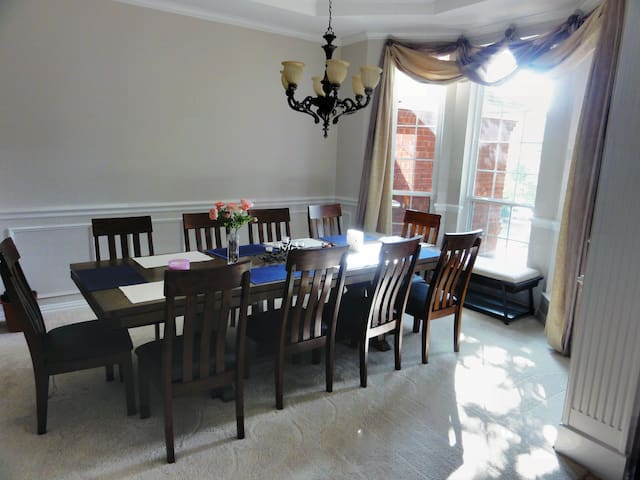 For more formal dining, the spacious dining room has seating for 10.