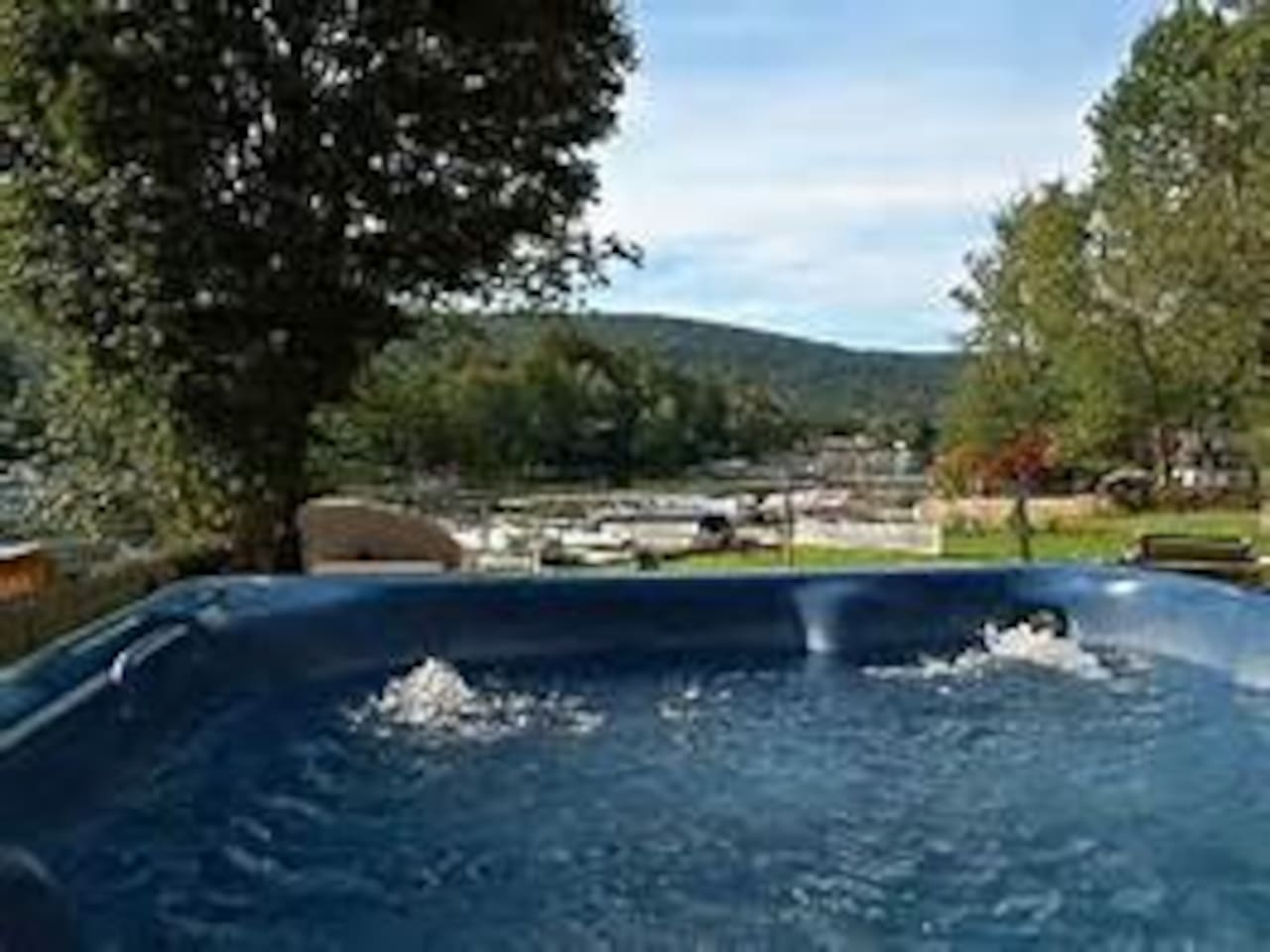 View from 7 person hot tub available year round!
