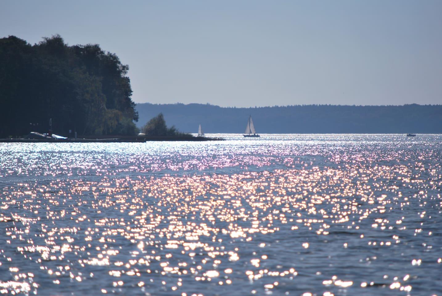 Mit dem Boot auf dem Plauer See.