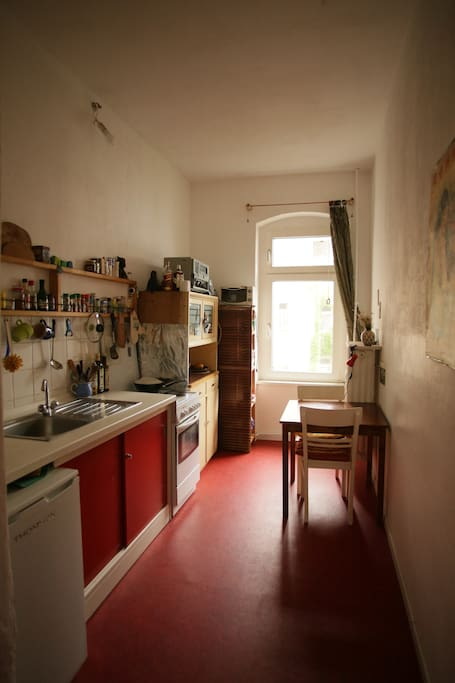the kitchen - fully equipped, nice for cooking and sitting.