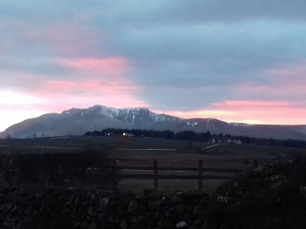 Sunset over Blencathra mountain from the garden of Lilac Trees