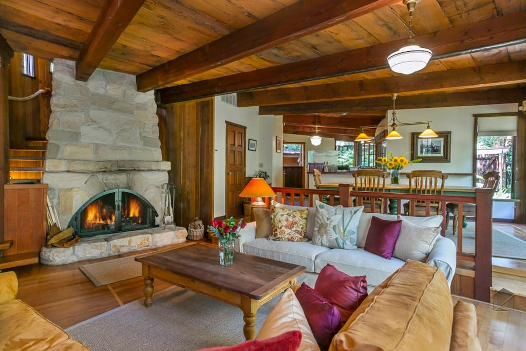 "The great room was built using rock from the creekbed and reclaimed timbers. Take advantage of all that plush seating and watch a movie on the 55"" smart 3D Samsung flatscreen TV, with DVD player and stereo system."