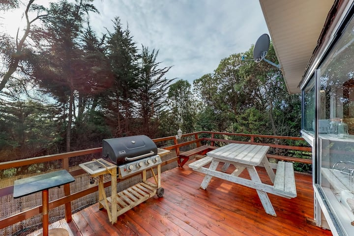 Spacious getaway w/furnished deck, gas grill, garden view & game room - dogs OK!