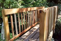 there are hiking trails through our forest which cross bridges over the creek