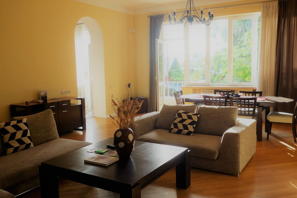 Very spacious and sunny living room with a balcony