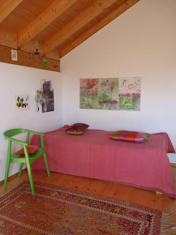 Modernes Holzhaus mit Blumengarten (Biogemüse)