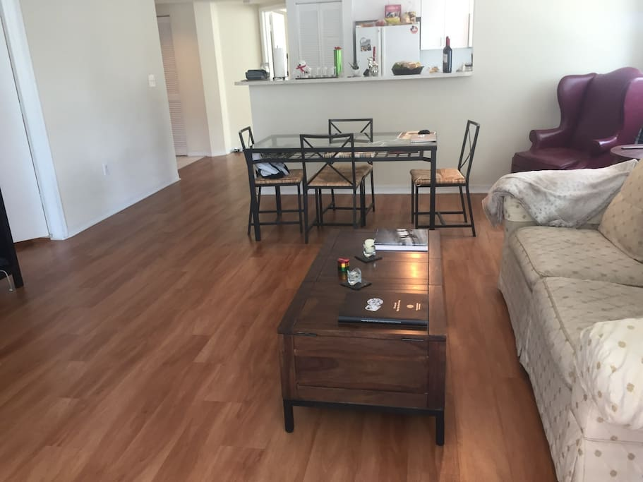 Large living room with wood floors