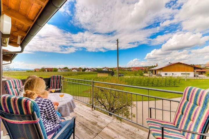 """Comfortable Apartment """"Alte Hammerschmiede I"""" near Lake Constance with Mountain View, Wi-Fi, Balcony & Garden; Parking Available"""