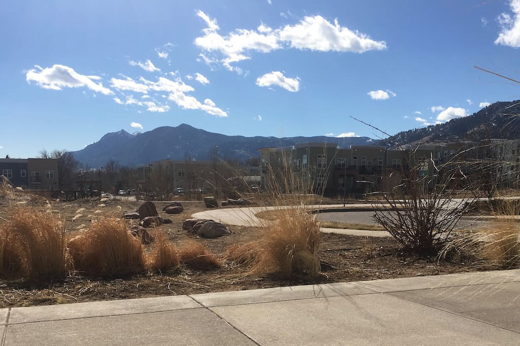 View of Flatirons & multi-purpose trails from front door