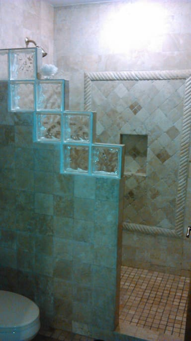 Large tiled master bathroom s