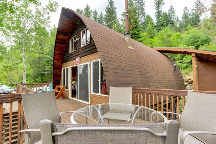 Dog-friendly with dock, boat slip, patio & deck w/ mountain & lake views!