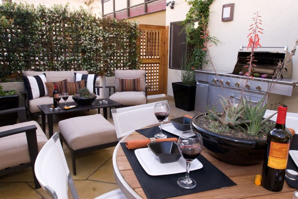 Enjoy a BBQ after a day at the beach on your private patio.
