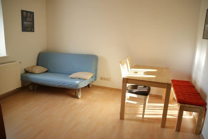 Wohnzimmer mit Schlafcouch und Esstisch