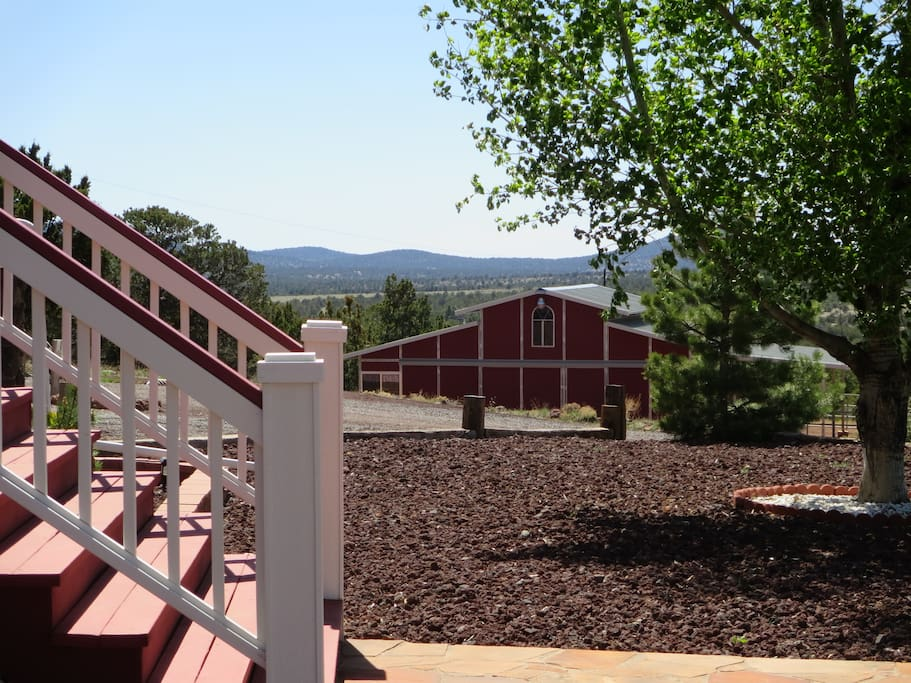Looking down to the barn