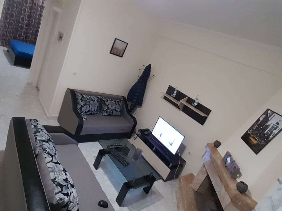 living room  (Internet connection through smart t.v, personal wi fi connection and fireplace)