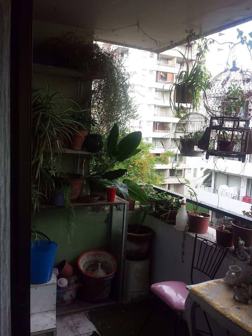 Balcon amplio con terraza para tomar el te