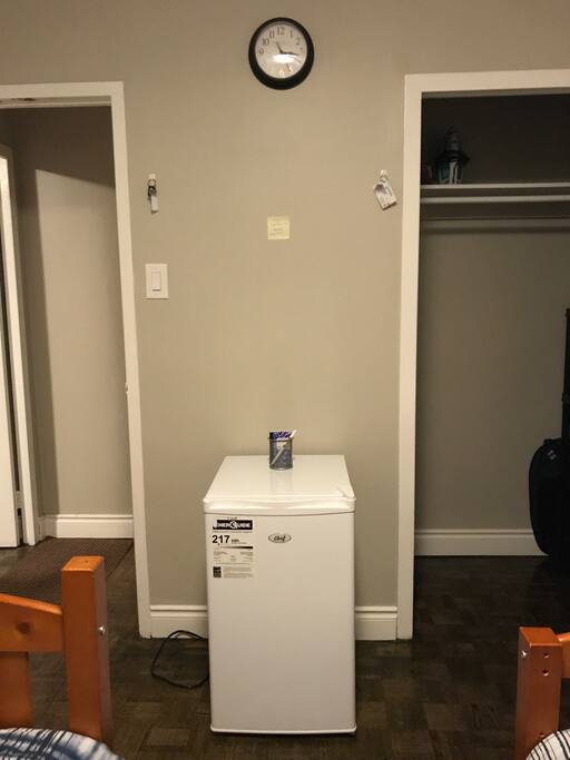 Small fridge available in the private bedroom