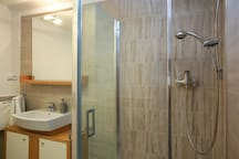 Great bathroom with shower, toilet just for you:)