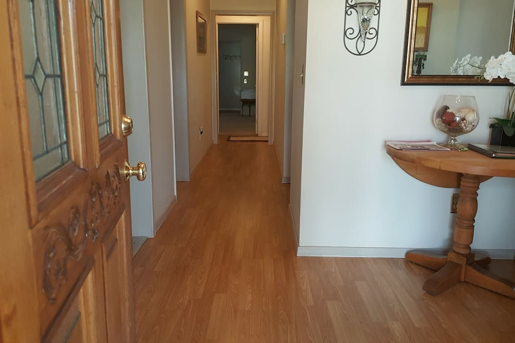 Entry & Hallway with the brand new wood floor.