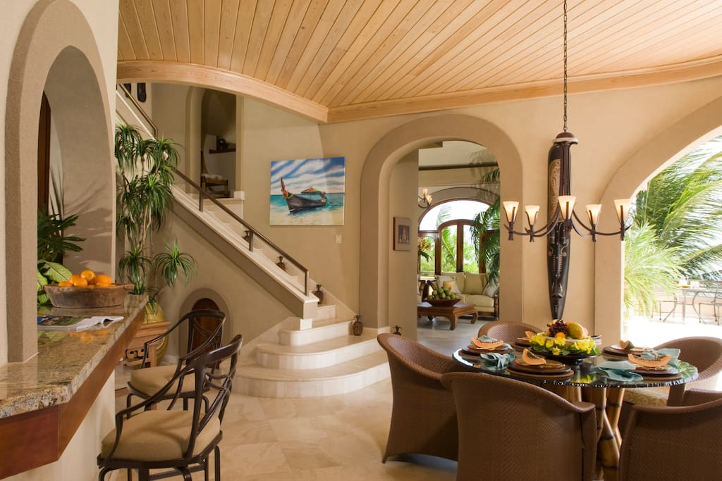 Poolside Dining within steps of the Great Room (R) and Kitchen (L)