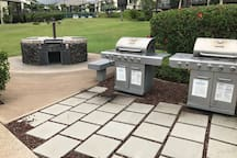 1 of 2 multi-station charcoal grill areas